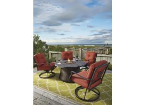 Burnella Round Fire Pit Table w/4 Swivel Lounge Chairs