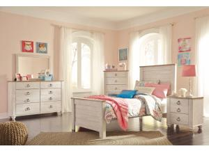 Willowton Whitewash Twin Panel Bed, Dresser, Mirror and Chest