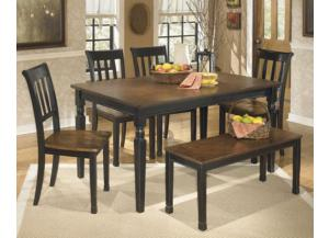 Owingsville Rect. Dining Room Table w/4 Chairs and Bench