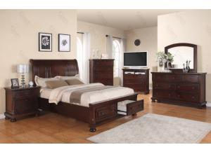 Queen Storage Bed, Dresser Mirror, Chest, 2 Nightstands