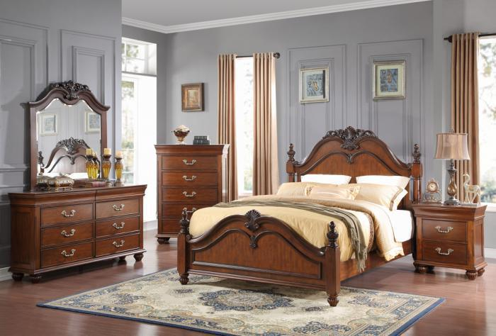Jacquelyn Queen Bed, Dresser, Mirror and Chest,New Classics