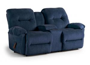Elisport Blue Double Reclining Console Loveseat