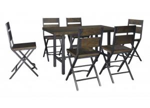 Kavara Medium Brown Rectangular Dining Room Counter Table w/ 6 Stools