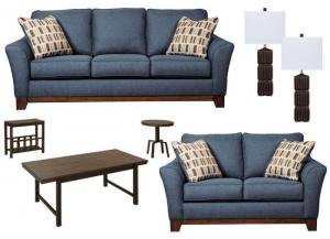 7PC Janley Denim Sofa, Loveseat, Lamps and Ocassional Table Set