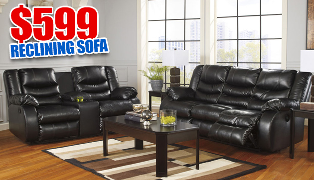 Linebacker DuraBlend Black Reclining Sofa & Loveseat