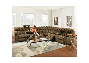 Brayden Power Recline Reclining Sofa w/ Table, Lights, Lumbar Massage & Frosty Fridge