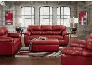 "Red ""Leather Look"" Loveseat"