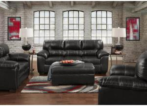 "Black ""Leather Look"" Loveseat"