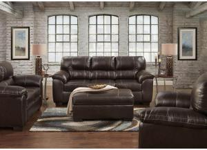 "Brown ""Leather Look"" Loveseat"
