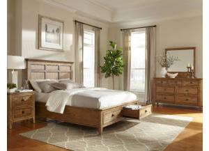 Solid Brushed Ash Queen Storage Bed