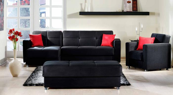 Elegant Rainbow Black Sectional Sleeper,Sunset International