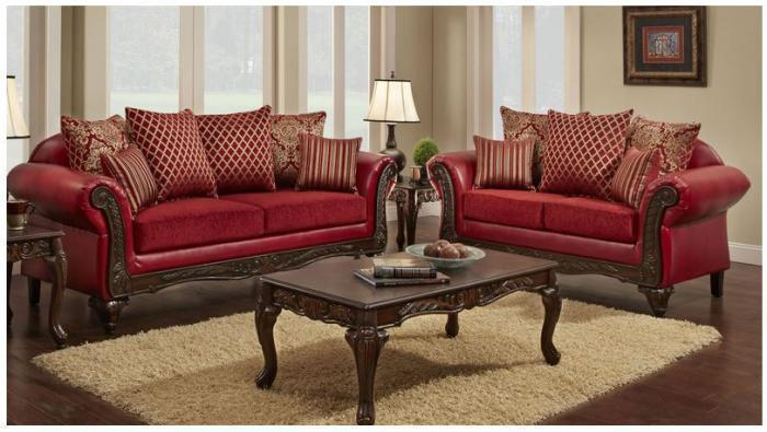 Victorian Red Sofa and Love Seat,Promotional Specials