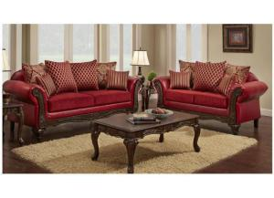 Victorian Red Sofa and Love Seat