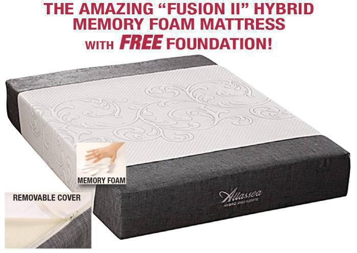 The Amazing Fusion II Hybrid Queen-size memory foam mattress with FREE foundation