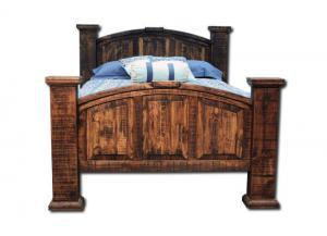 Vintage Rustic Queen Bed - Dark