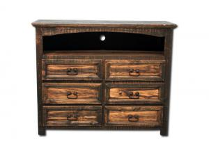 Vintage Rustic TV Chest - Dark