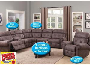 POWER Recliner Sectional with FREE Matching Recliner!