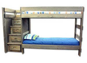 Duncan Twin/ Twin Staircase Bunk bed - Walnut