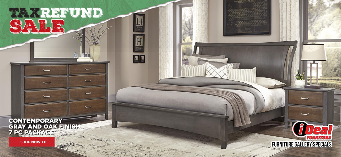 Contemporary Gray and Oak 7pc Bedroom