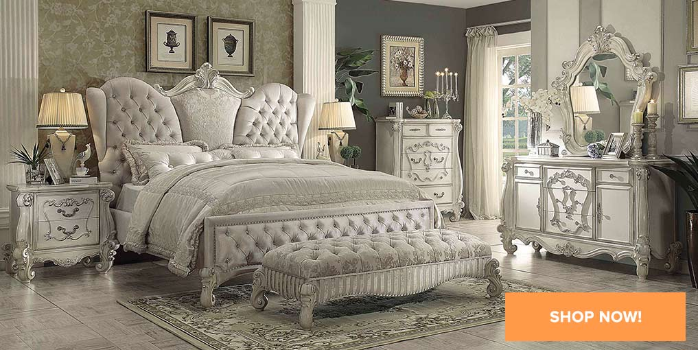 Versailles Ivory Queen Bed, Dresser, mirror, & 1-Nightstand