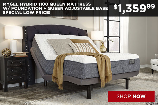 Mygel Hybrid 1100 Queen Mattress w/ Foundation + Queen Adjustable Base