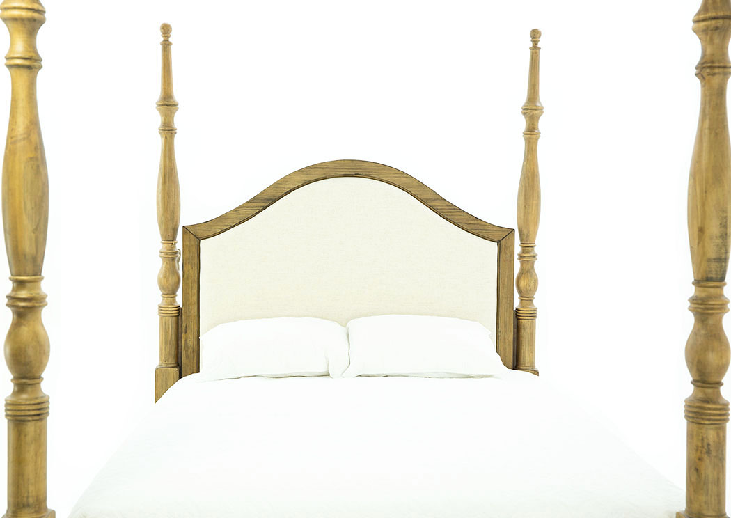 PRIMITIVE TOFFEE QUEEN UPHOLSTERED POSTER BED,MGHM