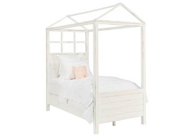 PLAYHOUSE JO'S WHITE TWIN CANOPY BED