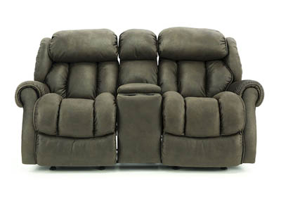RYKER CHOCOLATE RECLINING LOVESEAT WITH CONSOLE