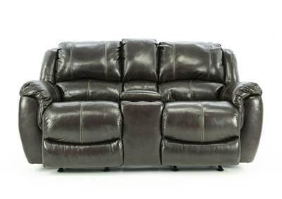 HADLEY COFFEE BEAN RECLINING LOVESEAT WITH CONSOLE