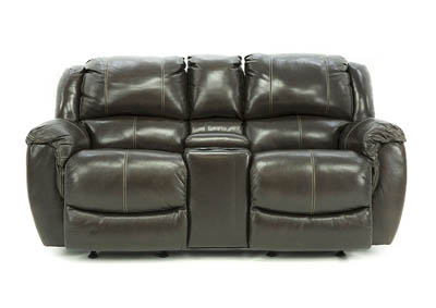HADLEY COFFEE BEAN POWER RECLINING LOVESEAT WITH CONSOLE