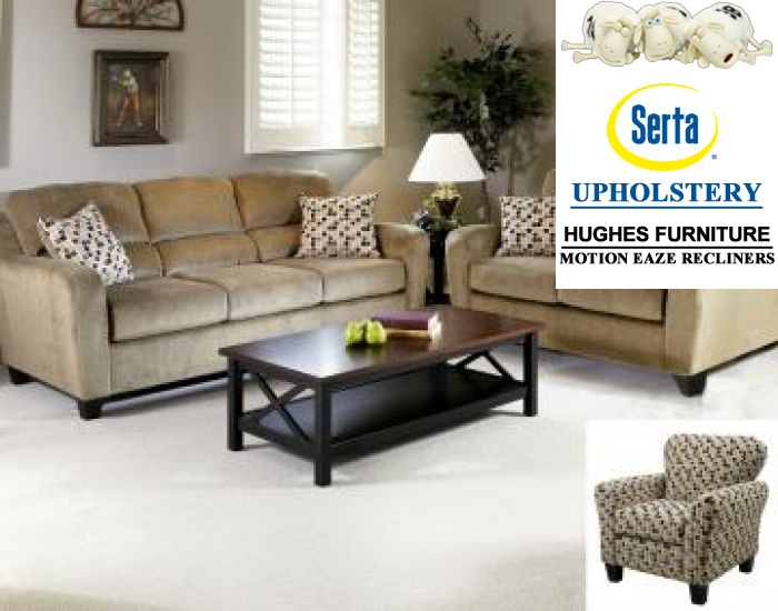 Elizabeth-Khaki Sofa and Loveseat,Hughes Furniture