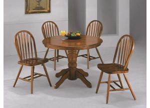 Farmhouse round pedestal table w/ 4 hoop back chairs,Crown Mark