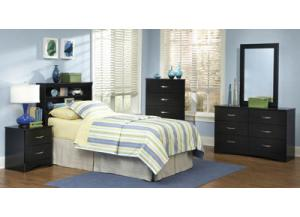 Jacob/Black Full Queen Bookcase Headboard & Frame, Dresser & Mirror, Chest, Nightstand,Kith
