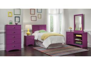 Color Splash/Rasberry, Twin Headboard & Frame, Dresser, Mirror, Chest, Nightstand