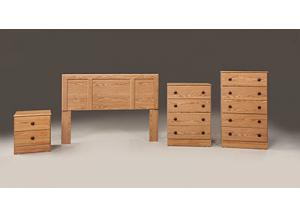 Oak Twin Headboard & Frame, 5 Drawer Chest, Nightstand,Kith