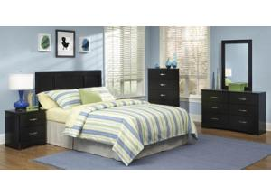 Jacob/Black Twin Panel Headboard & frame, Dresser & Mirror, 5 Drawer Chest, Nightstand,Kith