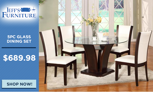 5pc Glass Top Dining Set