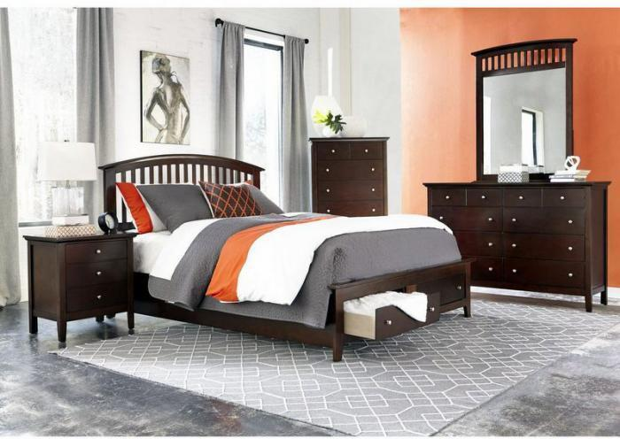 Hampton Queen Storage Bed, Dresser, Mirror, Chest and 1 Nightstand (SOLD AS SET ONLY),Jaron's Showcase