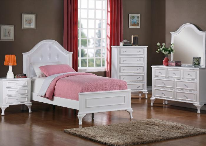 Jessica Twin Bed, Dresser and Mirror,Jaron's Showcase