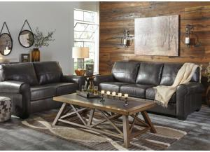 Alton Gunmetal Leather Sofa and Loveseat