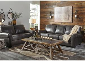 Alton Gunmetal Leather Sofa