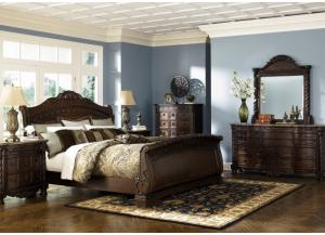 Bonaparte Queen Sleigh Bed, Dresser and Mirror
