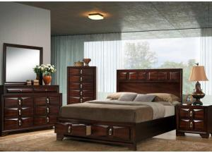 Rosell Queen Storage Bed, Dresser, Mirror, Chest and 1 Nightstand