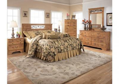 Rustic Queen/Full Panel Headboard, Dresser, Mirror, Chest and 1 Nightstand
