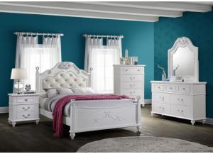 Alana Twin Bed, Dresser, Mirror, Chest and 1 Nightstand