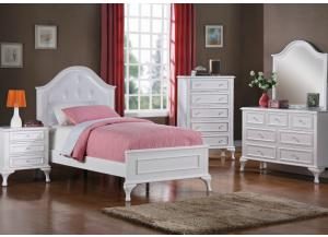 Jessica Twin Bed, Dresser, Mirror, Chest and 1 Nightstand