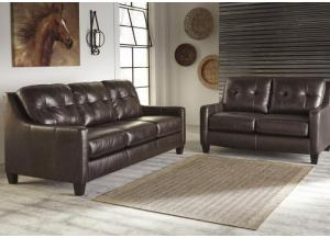 Keene Mahogany Leather Loveseat