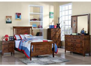 Arizona Full Bed, Dresser, Mirror, Chest and 1 Nightstand