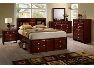 BE100 QUEEN STORAGE BED, DRESSER, MIRROR, & 1 NIGHT STAND