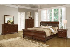 Queen Sleigh Bed, Dresser, Mirror & 1 Nightstand